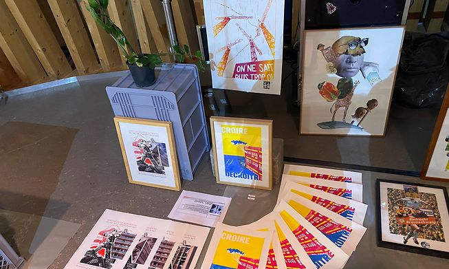 """Charl Vinz's prints - on show here at September's """"Super Maart"""" - are critical of unbridled consumption"""