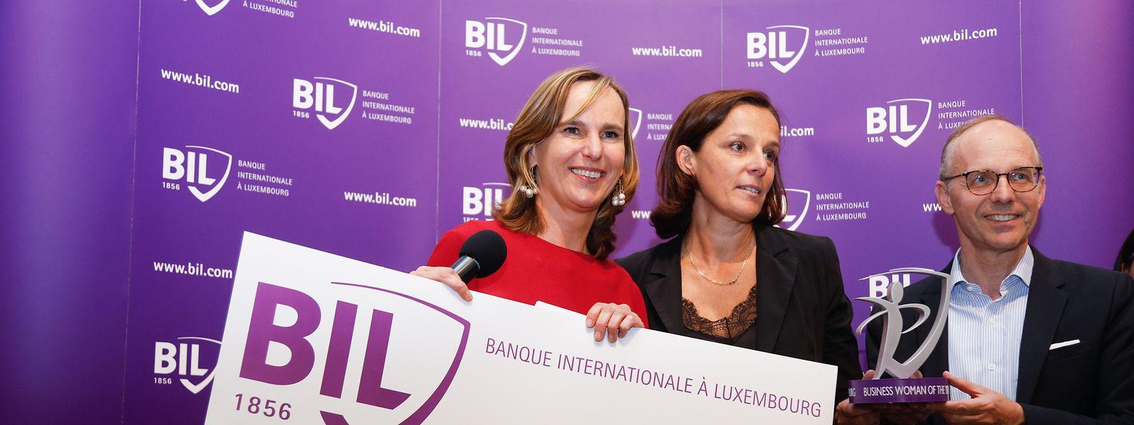 """Stéphanie Jauquet a également reçu un chèque de 10.000 euros mercredi soir lors de la remise du prix """"Business Woman of the Year 2019""""."""