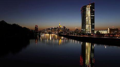 The headquarters of the European Central Bank (ECB) is seen next to the famous skyline in Frankfurt, Germany