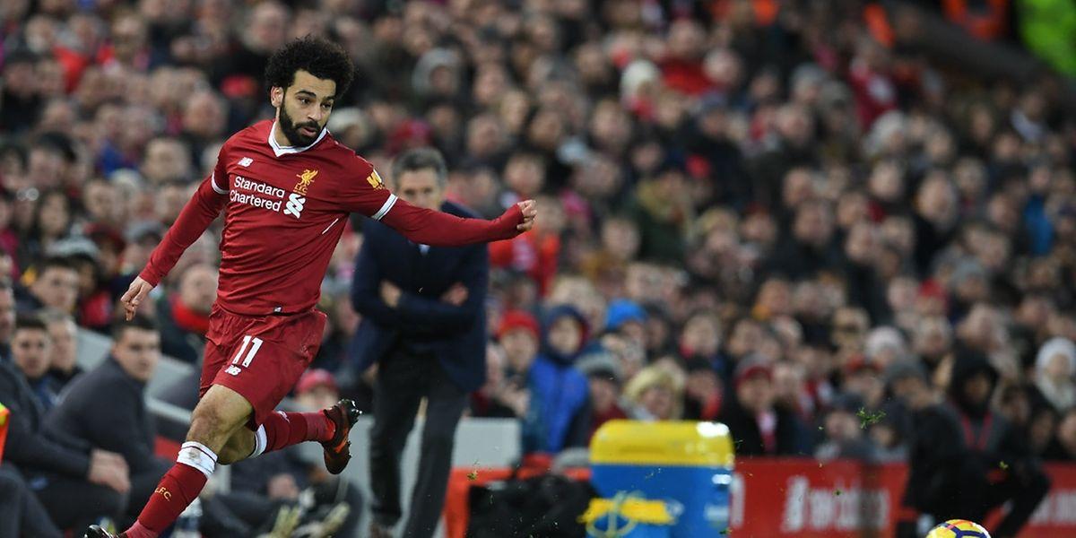 Déroutant Mohamed Salah auteur des deux buts des Reds contre Leicester.