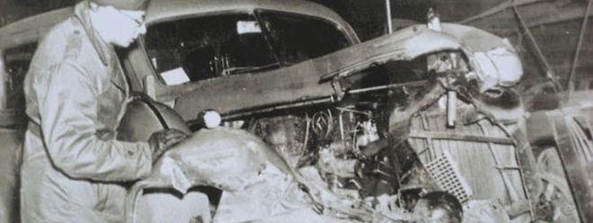 Der Unfallwagen von General Patton. Der Cadillac war im Frontbereich zerstört, wurde aber später wieder restauriert.