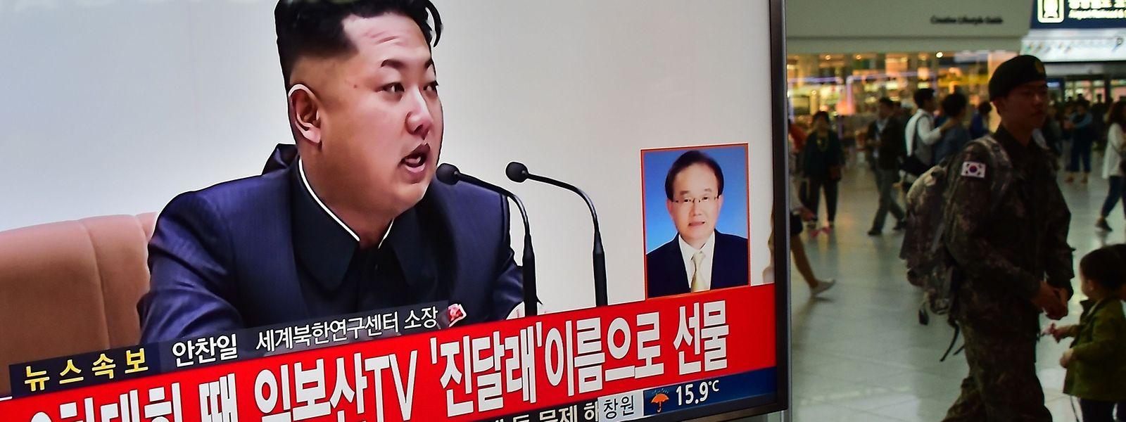 Auch in Südkorea war die Rede von Kim Jong Un im Fernsehen zu sehen.