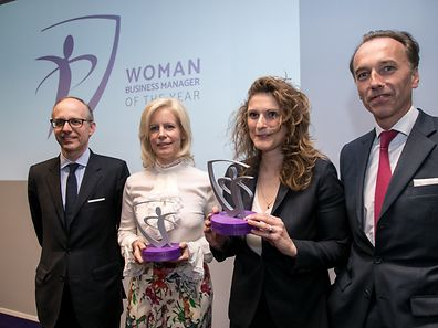 27.4. Wi / Woman Business Manager of the Year / Remise des Prix / vlnr Luc Frieden , Nathalie Dondelinger , Alexandra Fernandez-Ramos , Hugues Delcourt Foto.Guy Jallay
