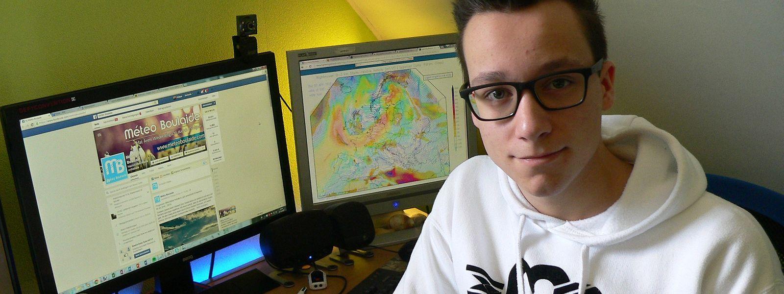 """Von seinem Zimmer aus füttert Philippe Ernzer das Land täglich über """"Météo Boulaide"""" mit Wetterprognosen."""