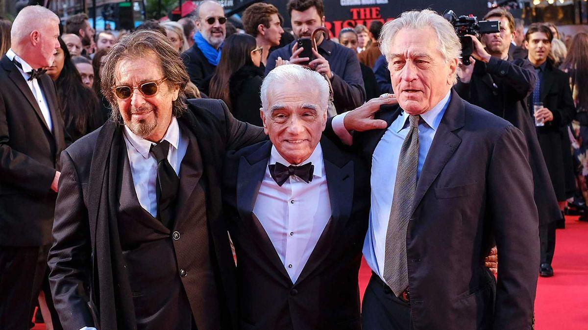 Da esquerda para a direita, Al Pacino, Martin Scorsese e Robert De Niro na estreia internacional do filme, em Londres em outubro de 2019.