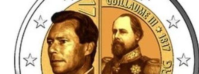 La pièce présentera les portraits du grand-duc Henri et du grand-duc Guillaume III, côte à côte.