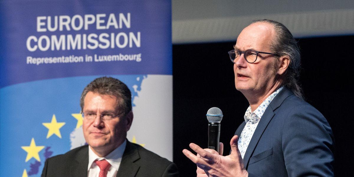 EU-Vizepräsident und Energiekommissar Maros Sefcovic erklären, zusammen mit dem luxemburgischen EU-Abgeordneten, Claude Turmes, dass die grüne Energie die Zukunft von morgen ist.