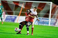 Jordy Soladio (Rosport l.) gegen Denis Ahmetxhekaj (Fola r.) / Fussball, Nationaldivision, Fola - Rosport / 15.09.2021 / Esch-Alzette / Foto: Christian Kemp