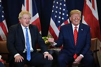 TOPSHOT - US President Donald Trump and British Prime Minister Boris Johnson hold a meeting at UN Headquarters in New York, September 24, 2019, on the sidelines of the United Nations General Assembly. (Photo by SAUL LOEB / AFP)