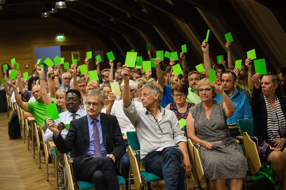 En juin 2018, le précédent congrès extraordinaire de Déi Gréng avait validé la succession de Camille Gira par Claude Turmes.