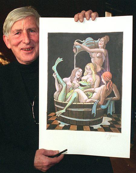 Januar 1999 in Baden-Württemberg: Tomi Ungerer zeigt seine Arbeit, die er der Stadt Baden-Baden gewidmet hat.