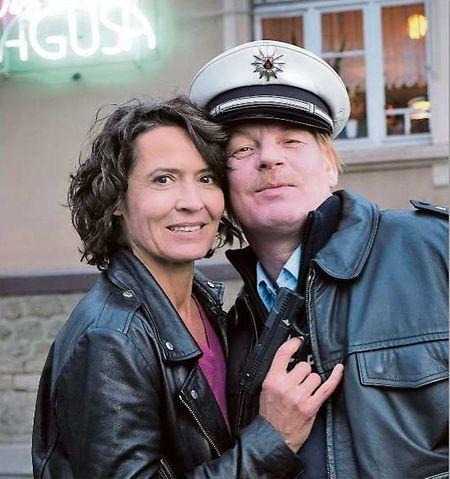 Ulrike Folkerts, hier bei den Dreharbeiten mit Kollege Ben Becker.