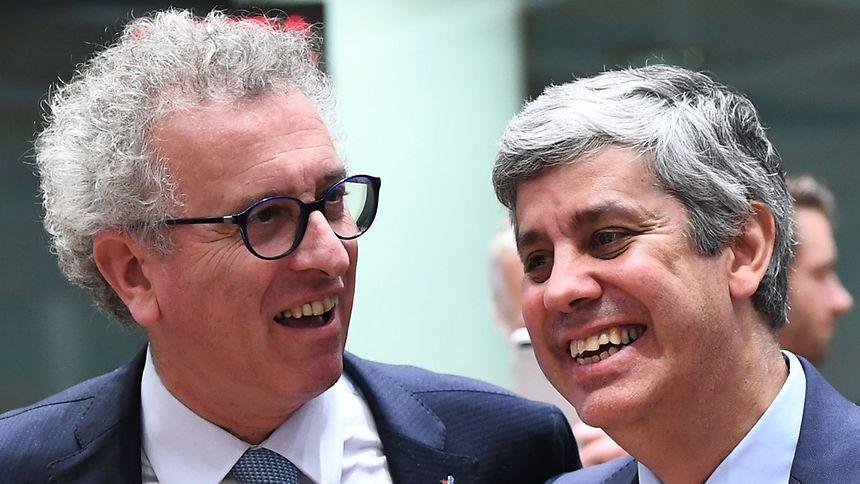 Pierre Gramegna e Mário Centeno após a eleição do novo presidente do Eurogrupo