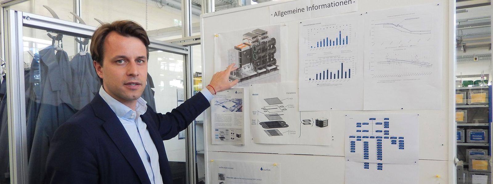 Sunfire Co-Gründer Nils Aldag erklärt die Funktionsweise der Sunfire-Anlagen.