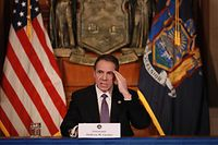 """ALBANY, NY - APRIL 17: New York Governor Andrew Cuomo gives his a press briefing about the coronavirus crisis on April 17, 2020 in Albany, New York.Cuomo along with governors from other East Coast states are extending their shutdown of nonessential businesses to May 15. We have to continue doing what were doing. Id like to see that infection rate get down even more..."""", he said.   Matthew Cavanaugh/Getty Images/AFP == FOR NEWSPAPERS, INTERNET, TELCOS & TELEVISION USE ONLY =="""