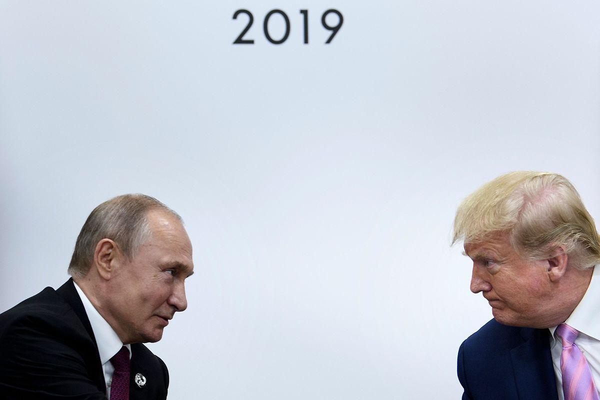 Trump und Putin bei ihrem Treffen am Freitag.