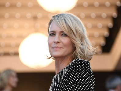 US actress Robin Wright poses as she arrives on May 17, 2017 for the screening of the film 'Ismael's Ghosts' during the opening ceremony of the 70th edition of the Cannes Film Festival