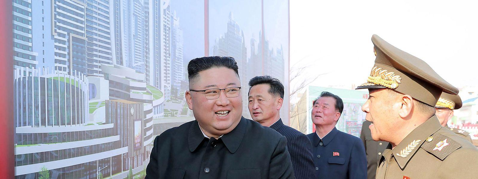 Nordkoreas Machthaber Kim Jong-un bei einer Parteiveranstaltung im März 2021.