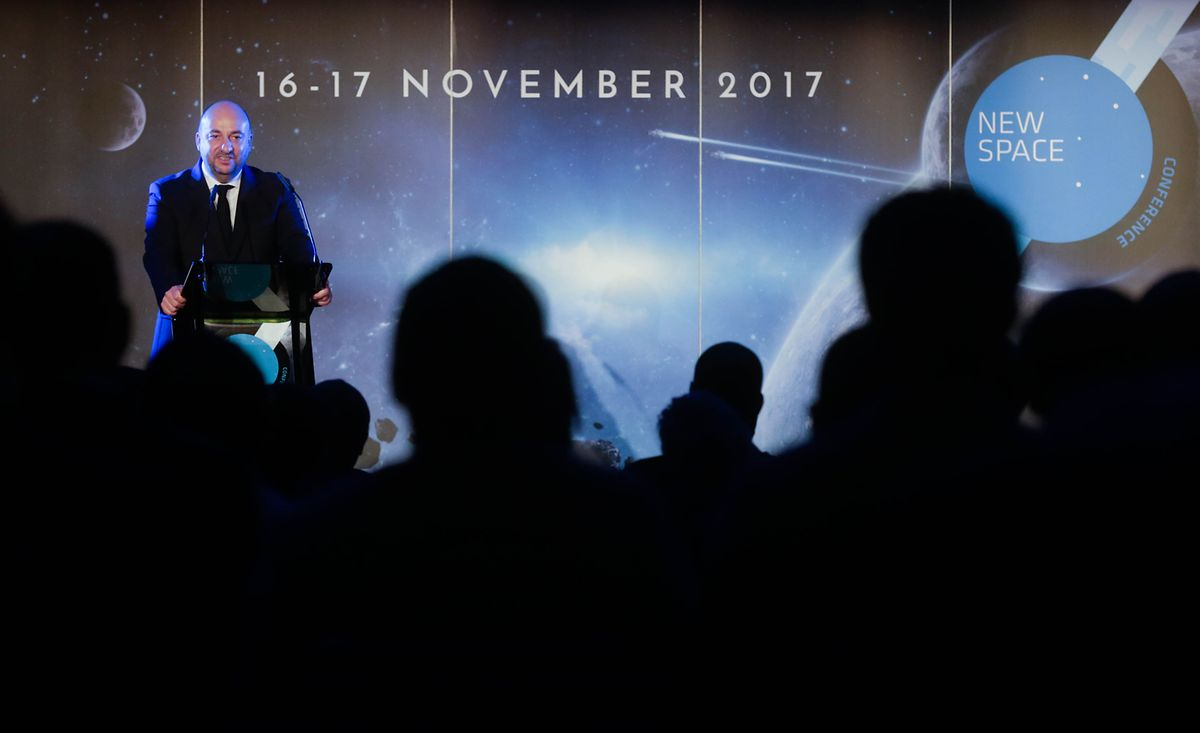 Etienne Schneider talking at the NewSpace Europe conference held in Luxembourg in November. Photo: Chris Karaba