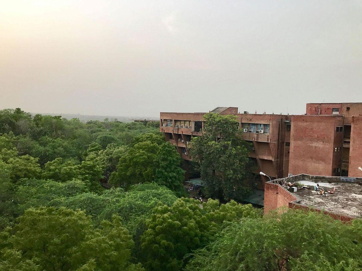 Vivem mais de 8.000 pessoas na Jawahrlal Nehru University, numa área de 404, 69 hectares (quase 405 vezes a praça do Rossio).