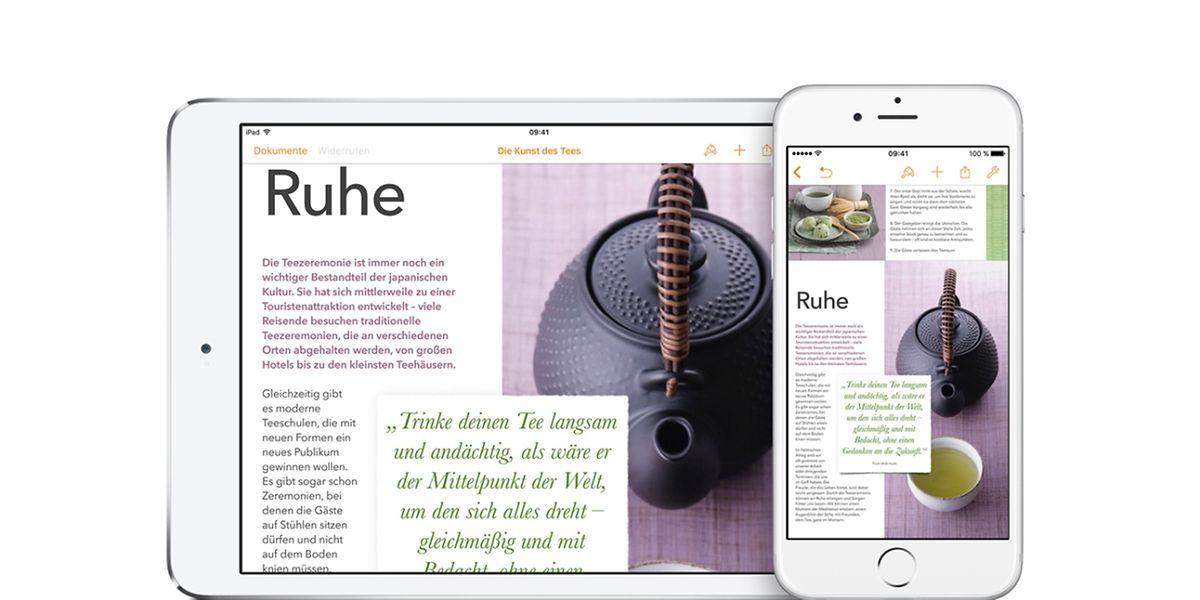 Apples iWork gibt es kostenlos für neuere Macs, iPhones, und iPads - hier die Version Pages für iOS.
