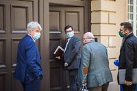 Politik, Bettel trifft Gewerkschaften wegen Pandemiegesetz + Gesundheits Kommissioun, Foto: Lex Kleren/Luxemburger Wort