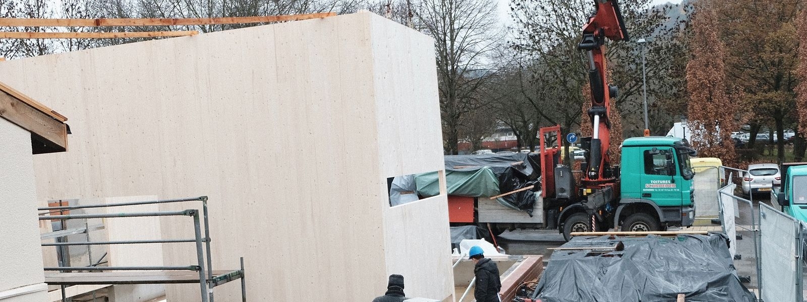 Zurzeit entsteht im Hof des Kulturzentrums Schungfabrik ein Holzbau, der das künftige Gemeindemuseum beherbergen wird.