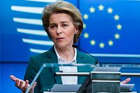 European Commission President Ursula von der Leyen speaks during a joint press conference after a G7 Leaders' videoconference on COVID-19 at the EU headquarters in Brussels on March 16, 2020. - Ursula von der Leyen on March 16 proposed that the EU close its borders to non-essential travel, as Europe scrambles to fight the spread of the coronavirus disease. Charles Michel will official propose the measure at an EU leaders summit on March 17 that will be held by videoconference. That meeting will come one day after the G7 holds a similar high-level videoconference. (Photo by Kenzo TRIBOUILLARD / AFP)