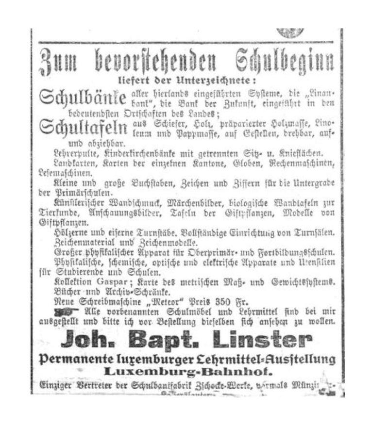 """Eine Anzeige des Betriebs bewirbt Schulbänke und Schultafeln. Die """"neue Schreibmaschine Meteor"""" kostete damals ganze 350 Franken."""