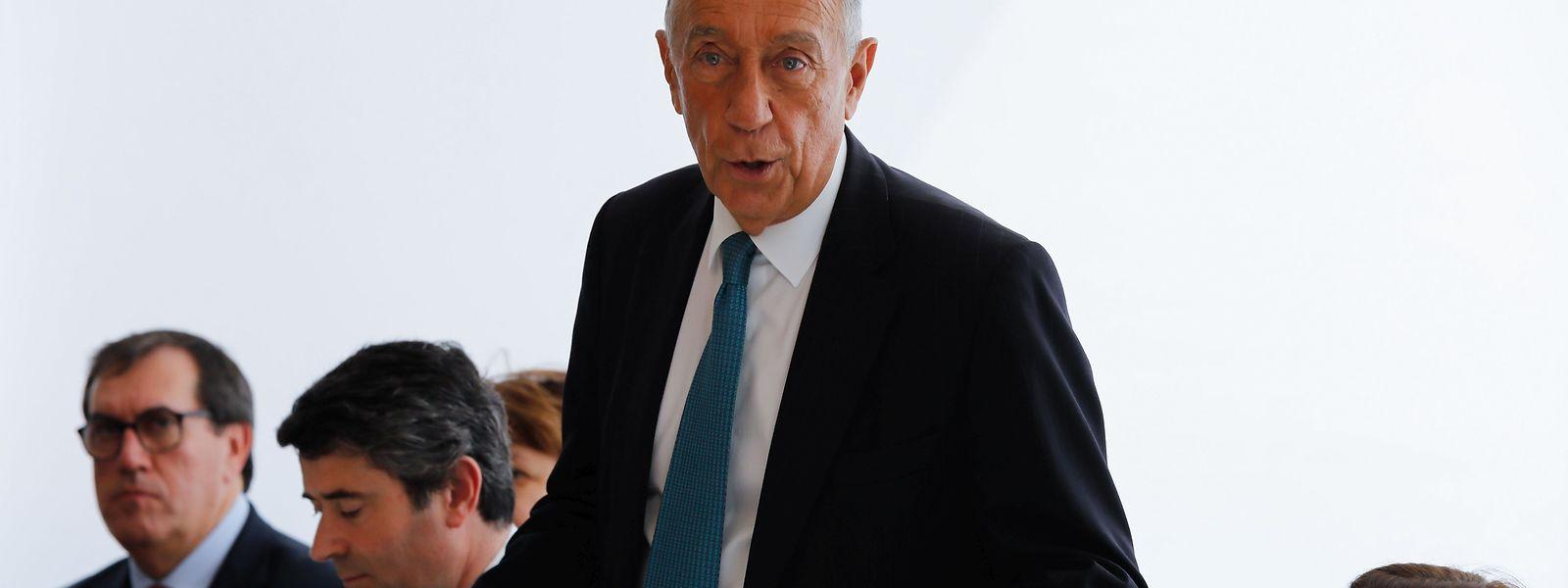 """O Presidente da República de Portugal, Marcelo Rebelo de Sousa, hoje no encontro """"Diálogos com representantes da comunidade"""", no Instituto Camões, em Merl, na cidade do Luxemburgo."""