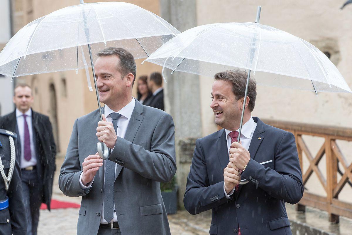Premierminister Xavier Bettel zusammen Oliver Paasch, dem Ministerpräsident der deutschsprachigen Gemeinschaft in Belgien
