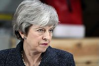 "Britain's Prime Minister Theresa May delivers a speech at Ørsted East Coast Hub in the North Sea fishing port, Grimsby on March 8, 2019. - Prime Minister Theresa May called on the European Union for ""one more push"" to strike a compromise Brexit compromise and told MPs that rejecting the agreement could mean Britain never leaves. (Photo by Christopher Furlong / POOL / Getty Images)"