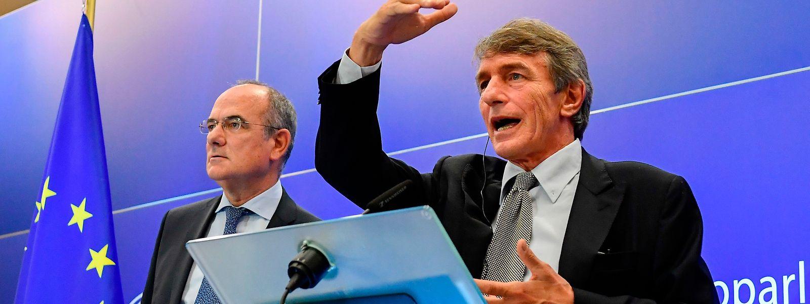 David Sassoli (R) während der Pressekonferenz am Donnerstag.