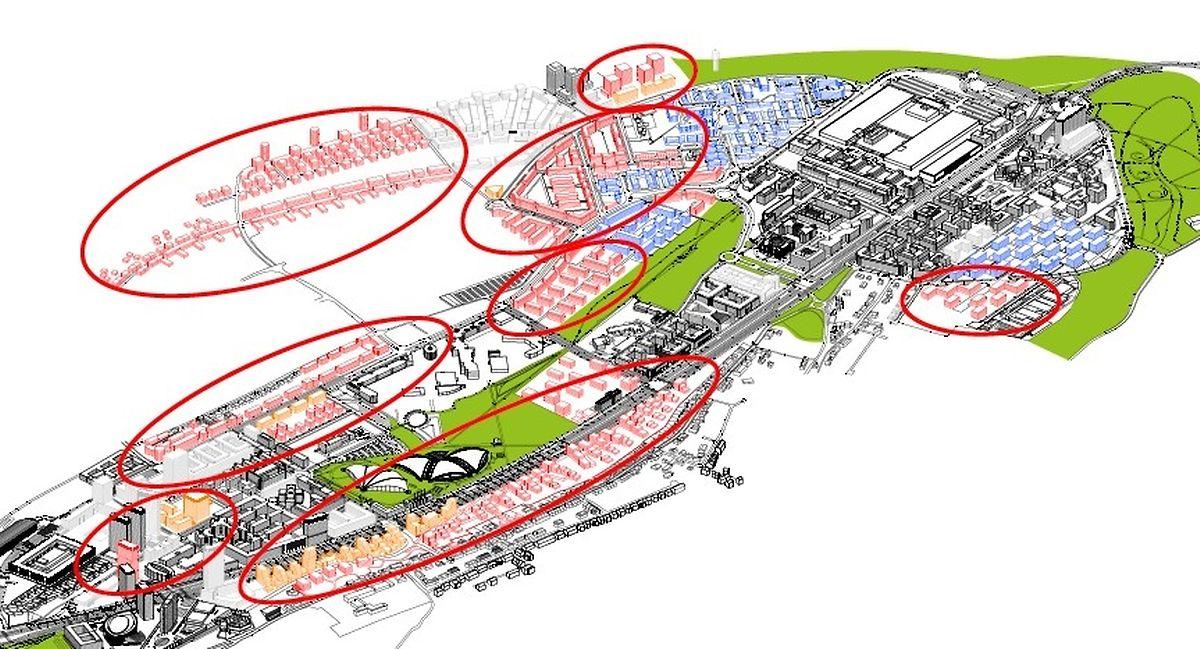 En rouge, les nouveaux logements qui seront créés au sein du Kirchberg.