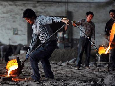 Eine kleine Stahl in Hefei in Zentralchina . Das Land hat viele kleine und mittlere Hersteller von Stahl.
