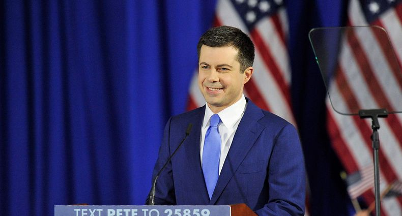 US Presidential Candidate former mayor of South Bend, Indiana, Pete Buttigieg speaks to his supporters during a primary night rally at Nashua Community College on February 11, 2020. - Bernie Sanders won New Hampshire's crucial Democratic primary, beating moderate rivals Pete Buttigieg and Amy Klobuchar in the race to challenge President Donald Trump for the White House, US networks projected. (Photo by Joseph Prezioso / AFP)