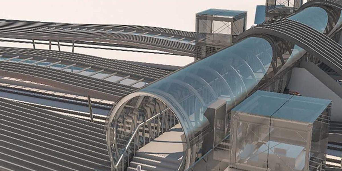 La future passerelle en verre sera facilement accessible par les personnes à mobilité réduite grâce à des ascenseurs.
