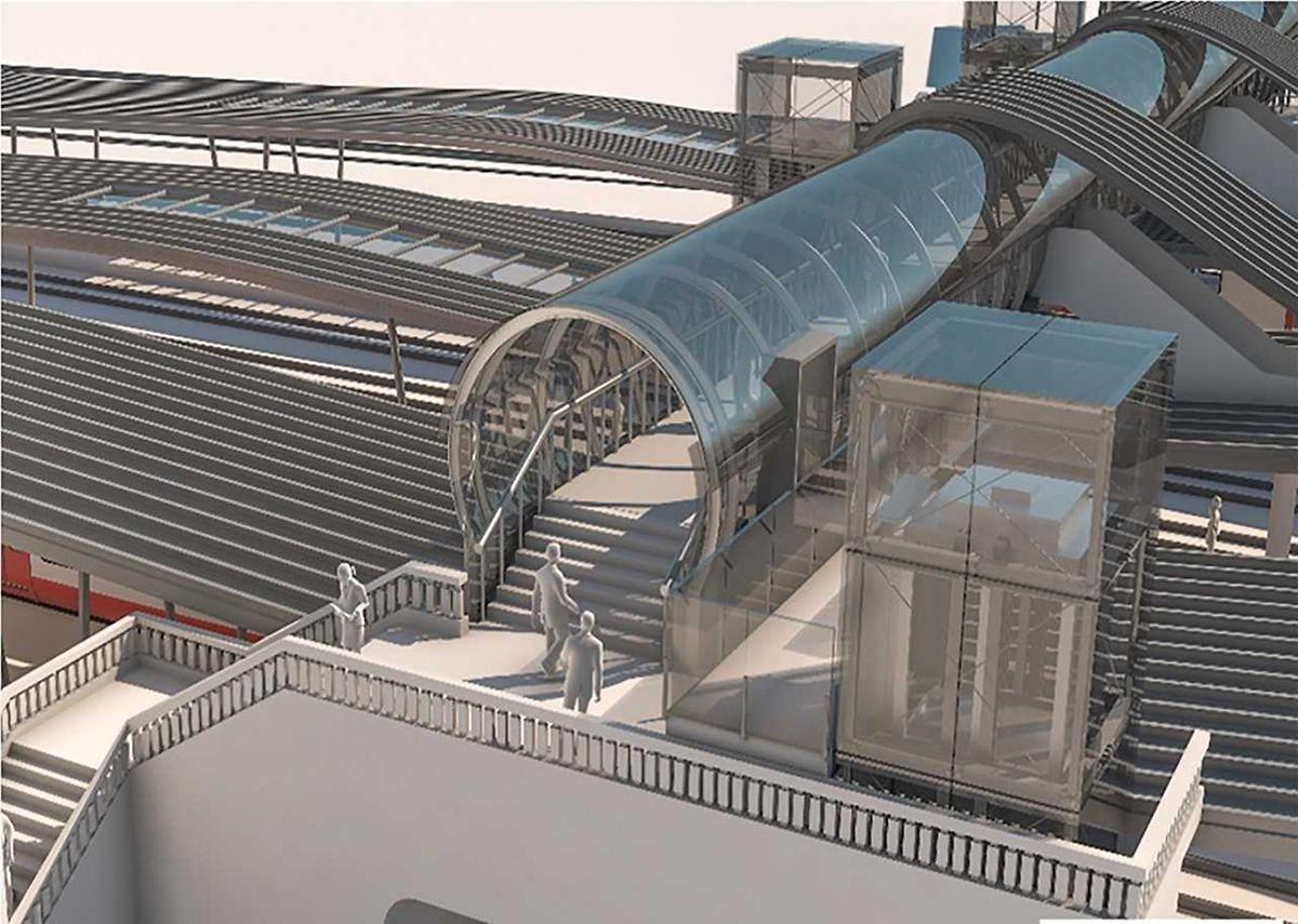 Die neue Passerelle wird mittels Aufzügen auch für Menschen mit reduzierter Mobilität problemlos nutzbar sein.