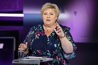 Prime Minister and Conservative Party leader Erna Solberg attends the party leader debate in Bergen on August 31, 2021. (Photo by Marit Hommedal / NTB / AFP) / Norway OUT
