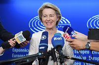 German Defence Minister Ursula von der Leyen speaks to journalists during the first plenary session of the newly elected European Assembly at the European Parliament on July 03, 2019 in Strasbourg, eastern France. (Photo by FREDERICK FLORIN / AFP)
