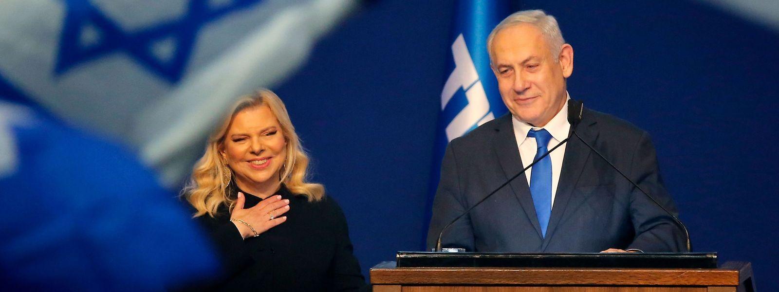 Benjamin Netanjahu und Ehefrau Sara bei der Wahlparty der Likud-Partei.