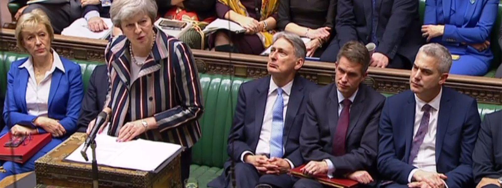 Diese Aufnahmen des Videosystems des Parlaments in London zeigen die britische Premierministerin Theresa May bei ihrer Rede zum Brexit-Abkommen.