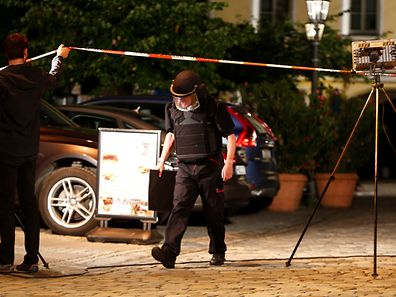 Police secure the area after an explosion in Ansbach, near Nuremberg, Germany on Monday.