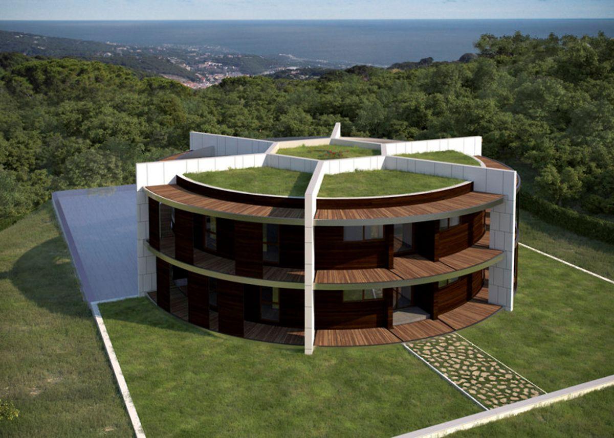 Ronde comme un ballon de football la maison de lionel messi avec terrasses végétales