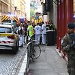 French security and emergency workers block the area following a suspected package bomb blast along a pedestrian street in the heart of Lyon, southeast France, the local prosecutors' office said on May 24, 2019. - Several people were wounded by a suspected package bomb blast on a pedestrian street in the heart of Lyon in southeastern France, the local prosecutors' office said. The area where the explosion occurred, on the narrow strip of land between the Saone and Rhone rivers in the historic city centre, has been evacuated, according to AFP journalists at the scene. Police said eight people had been injured but that none of the injuries appear to be life-threatening. (Photo by PHILIPPE DESMAZES / AFP)