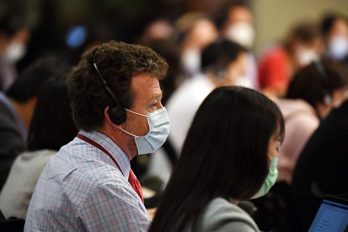 """Steven Lee Myers von der """"New York Times"""" bei einer Pressekonferenz in Beijing am Mittwoch."""