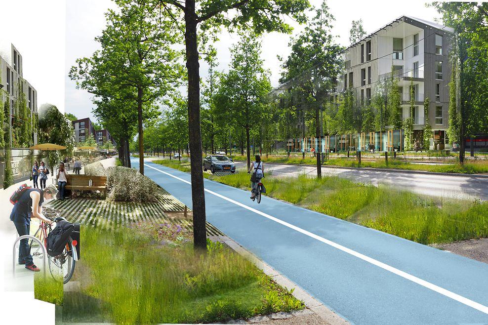 Vorher: Die Avenue Kennedy mit Fokus auf dem Individualverkehr ... und nachher mit Raum für Fußgänger, Radfahrer und Autofahrer. Einzelne Elemente am Wegesrand, etwa Sitzgelegenheiten, sollen zum Verweilen einladen.