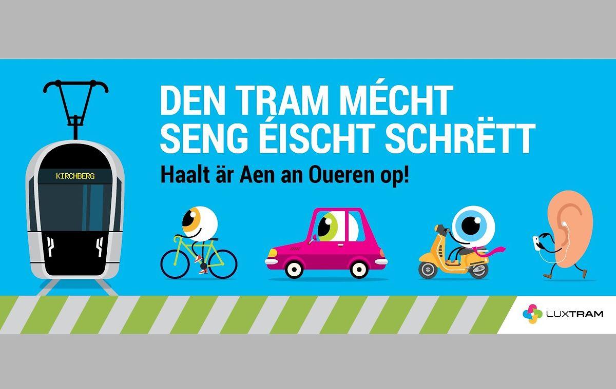 Ces affiches veillent à ce que chacun prête attention à l'arrivée de ce nouveau tram sur les routes.