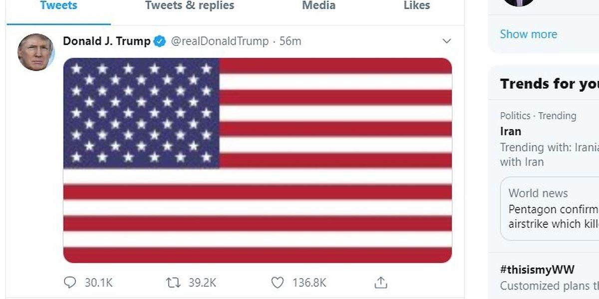 Trump postete am Donnerstag eine US-Flagge auf seinem Twitter-Account.