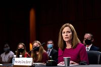 Supreme Court nominee Judge Amy Coney Barrett speaks at her Senate Judiciary Committee confirmation hearing on Capitol Hill on October 12, 2020 in Washington, DC. (Photo by Erin SCHAFF / POOL / AFP)